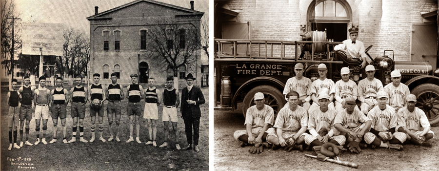 Left: The school basketball team circa 1920. Right: The Fire Department Baseball Team.